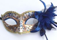 Blue and Gold Flower Mask